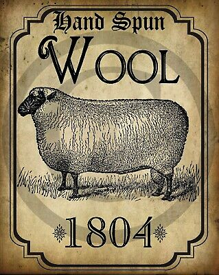 Primitive Colonial Hand Spun Wool Sheep 1804 Tavern Sign Laser Print 8x10