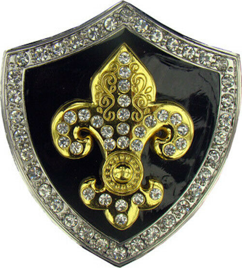 Fleur De Lis Shield Silber Chrom und Gold Strass Gürtelschnalle Bling