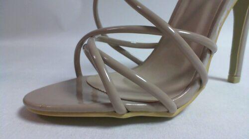 Chic Ladies Patent Spaghetti Strap Stiletto Sandal Nude UK Sizes 6-8
