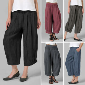 UK-Women-Oversize-High-Waist-Drop-Crotch-Harem-Pants-Loose-Casual-Capri-Trousers