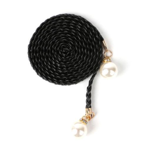 Womens Belt Pearl Knited Belt Hemp Rope Braid Female Dress Belt Faux Leather Top