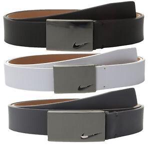 New-Nike-Mens-No-Hole-Plaque-Leather-Golf-Belt-Pick-Color-amp-Size