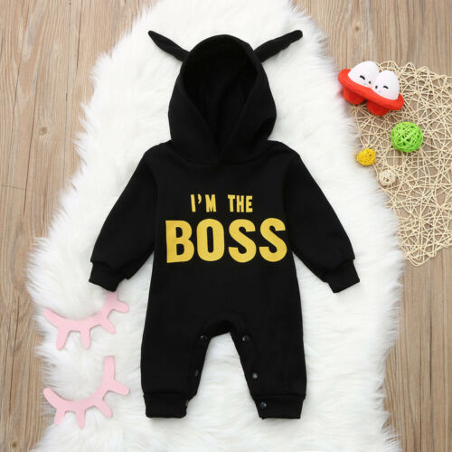 Newborn Infant Baby Boys Kids Hooded Romper Bodysuit Jumpsuit Clothes Outfit A0