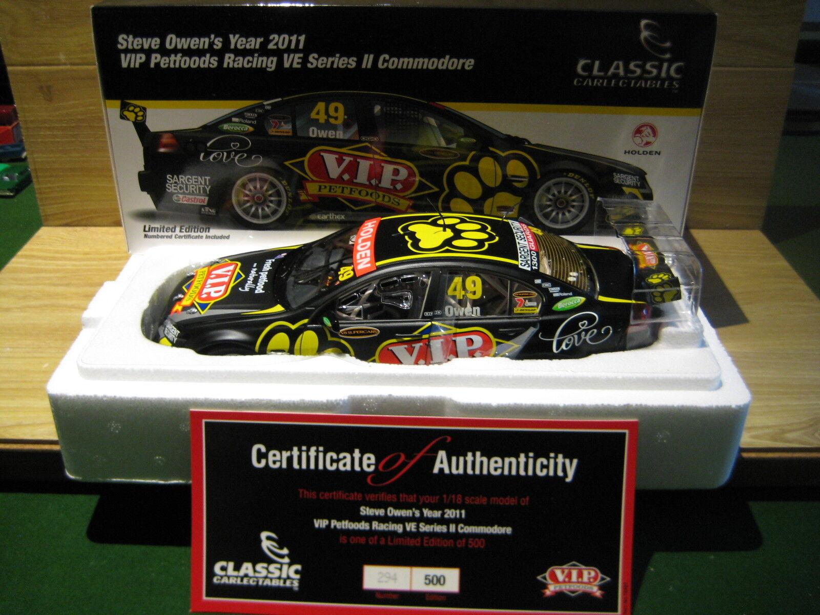 CLASSIC CARLECTABLES  1 18  Steve Steve Steve Owen  2011 VIP  VE Commodore  Item 18481 1131df