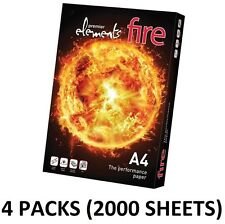 100gsm Plain White Paper A4 2000 Sheets Elements Fire Copier 4 Ream Inkjet Laser