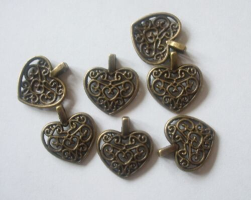 10 x Heart Charms Filigree Style Antique Bronze Tone 17x15x2mm Crafts Free Post