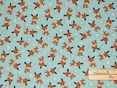 Santa/'s Little Deer Snowman Reindeer B Benartex Christmas Fabric by the 1//2 Yard