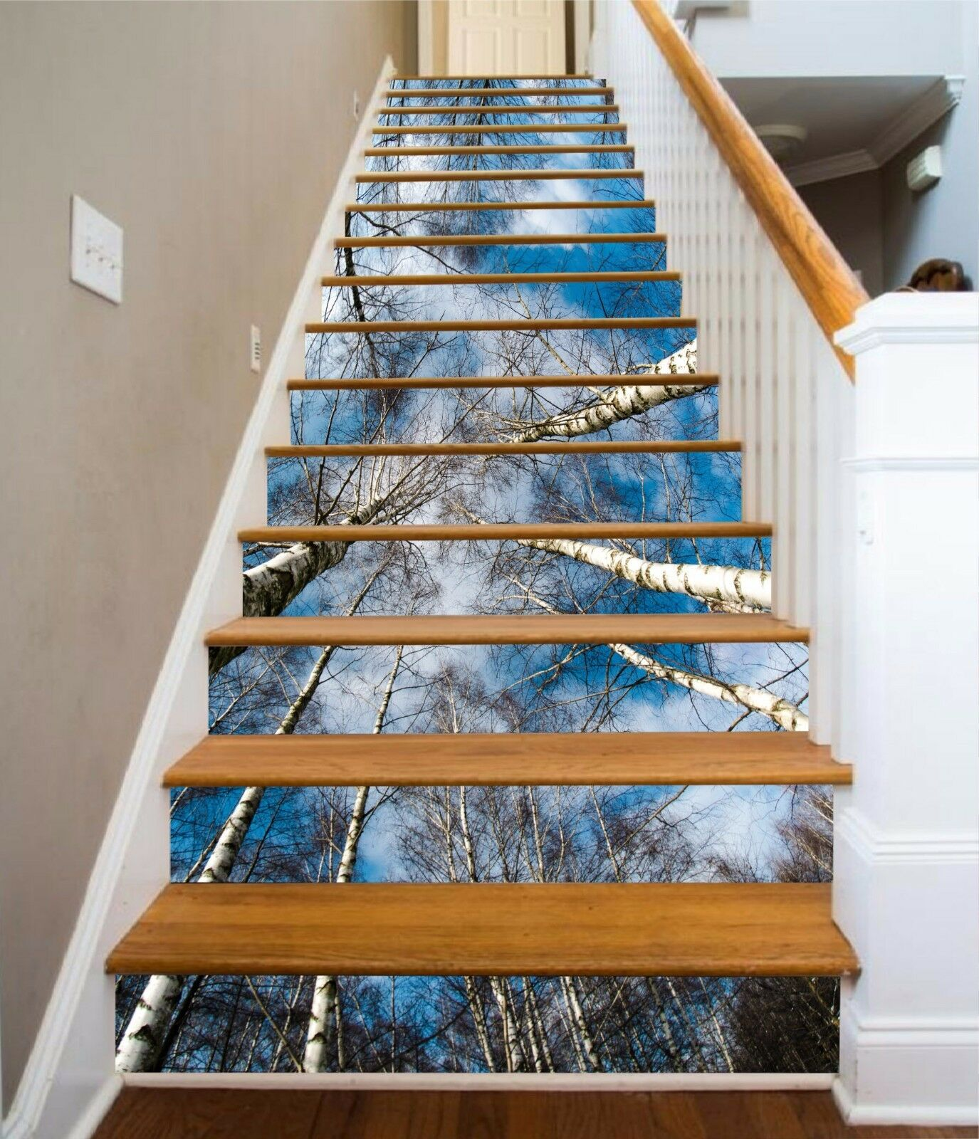 3D Sky Tree 352 Stair Risers Decoration Photo Mural Vinyl Decal Wallpaper UK