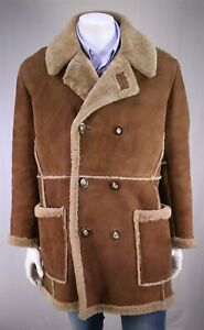 Vintage-HASTINGS-Brown-Suede-Shearling-Double-Breasted-Overcoat-42-Large
