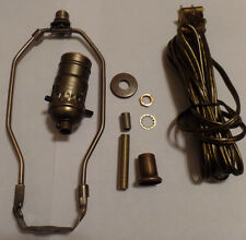 "Table Lamp Wiring Kit 8"" Antique Finish Harp,PushThru Socket,Antique Brass Cord"