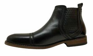 La-Milano-Slip-On-Leather-Cap-Toe-Chelsea-Black-Boots-B51934