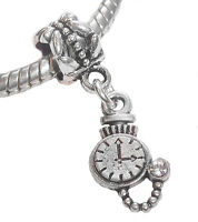 Pocketwatch Stopwatch Watch Clock Dangle Bead For Silver European Charm Bracelet