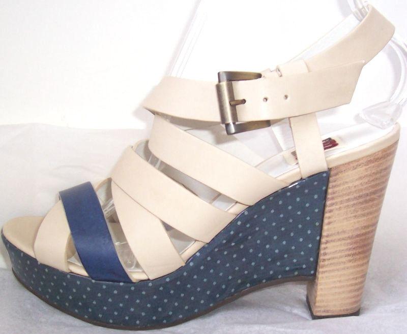 Im Isola Marras Beige Beige Beige Azul Cuero Zapatos Sandalias De Plataforma De Cuña de impresión de punto 39 9  costo real
