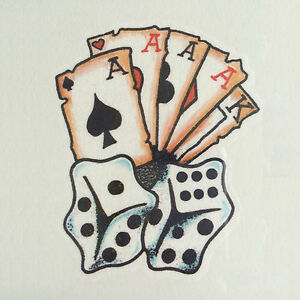 aces and dice playing cards temporary tattoo body art. Black Bedroom Furniture Sets. Home Design Ideas