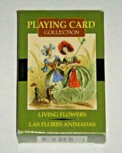 Living-Flowers-Cards-J-J-Grandville-OOP-54-Card-Deck-Paris-1800s-MINT-w-Bag