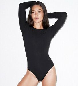 American Apparel womens Mix Modal Long Sleeve Drape Bodysuit