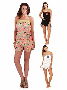 9df0a355a6 Image is loading Womens-Strapless-Playsuit-Beach-Cover-Up-Bandeau-Jumpsuit-