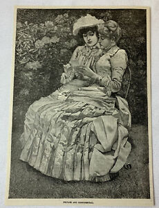 1885-magazine-engraving-PRIVATE-AND-CONFIDENTIAL-two-ladies-in-the-garden