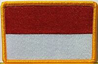 Indonesia Flag Patch Military With Velcro® Brand Fastener Gold Emblem