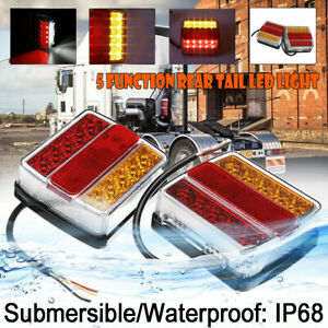 2X-Submersible-Waterproof-16-LED-Stop-Tail-Lights-Kit-Boat-Truck-Trailer-Lamp-AU