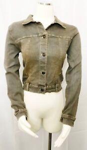 Damada-Jacket-Western-Stretch-Denim-Cropped-Gray-Dirty-Wash-Button-Front-Small