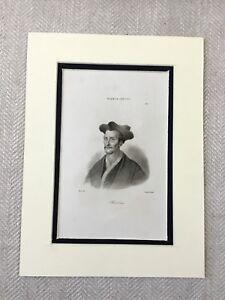 1830-Francois-Rabelais-Portraet-Franzoesisch-Renaissance-Poet-Antik-Gravur-Druck