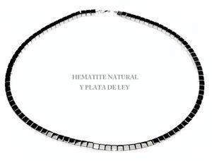 COLLAR-de-HEMATITE-DADOS-4X4-mm-Nuevo-Plata-de-Ley-Anti-estress-largo-43-cm