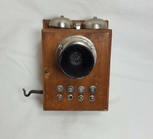 Antique-Vintage-Decor-Electric-Wall-Mount-Wooden-Telephone-Phone-Ringer-Box
