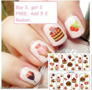 Cupcakes Chocolate Ice Cream Water Transfer Nail Art Stickers Decals