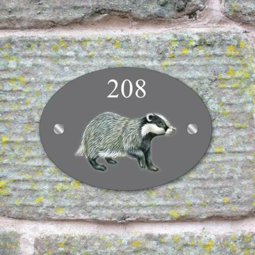 Oval Badger House Sign Wildlife Plaque House Door Number Sign GLASS EFFECT NAME