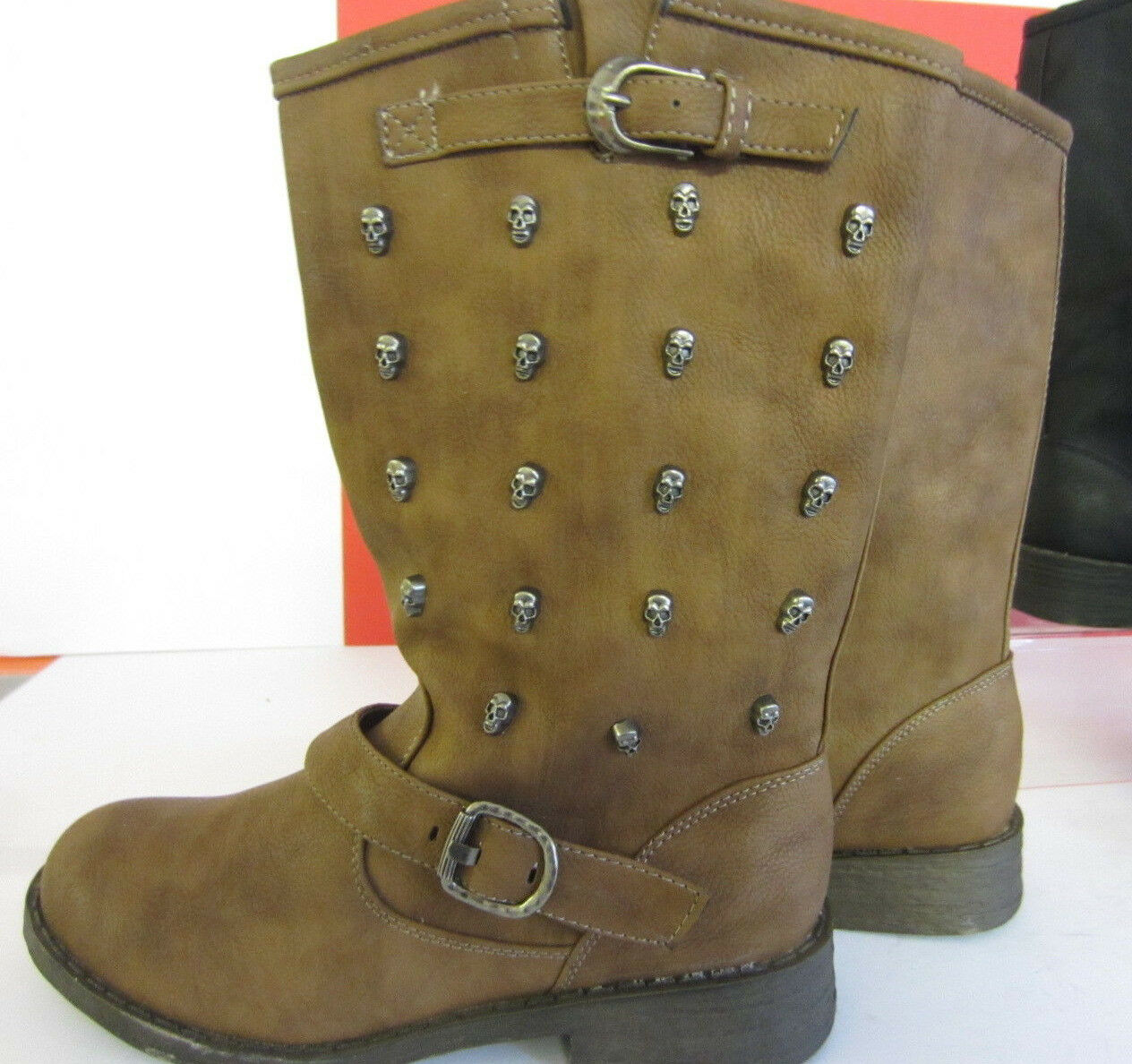 Spot on Ladies F50037 Black or Tan Skull Stud Boots  Sizes UK 3 X 8  (R1B)