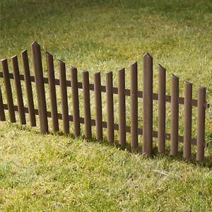Details About 4 Brown Plastic Wooden Effect Lawn Border Edge Garden Edging Picket Fencing Set