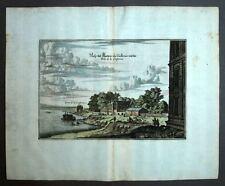 LE JARDIN DES TUILERIES, PORTE DE LA CONFERENCE gravure aquarellée Merian 1661