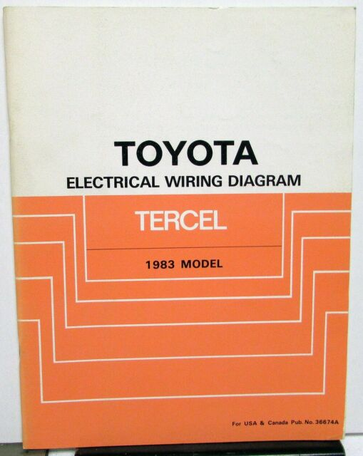 1983 Toyota Tercel Electrical Wiring Diagram Service Shop