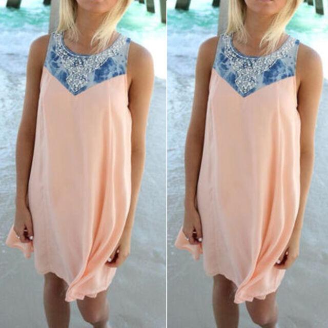 BOHO Women Sleeveless Party Short Mini Dress Summer Beach Casual Tunic Sundress