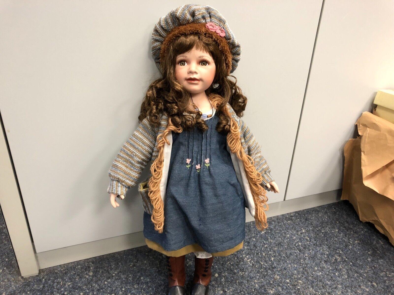 Künstlerpuppe Porzellan Puppe 66 cm. Top Zustand
