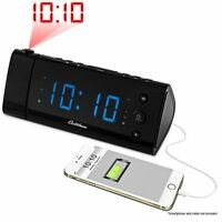 Electrohome Usb Charging Alarm Clock Radio With Time Projection, Battery