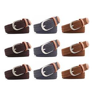 UK Unisex Canvas Woven Leather Pin Buckle Elastic Waist Belt Men Women Waistband