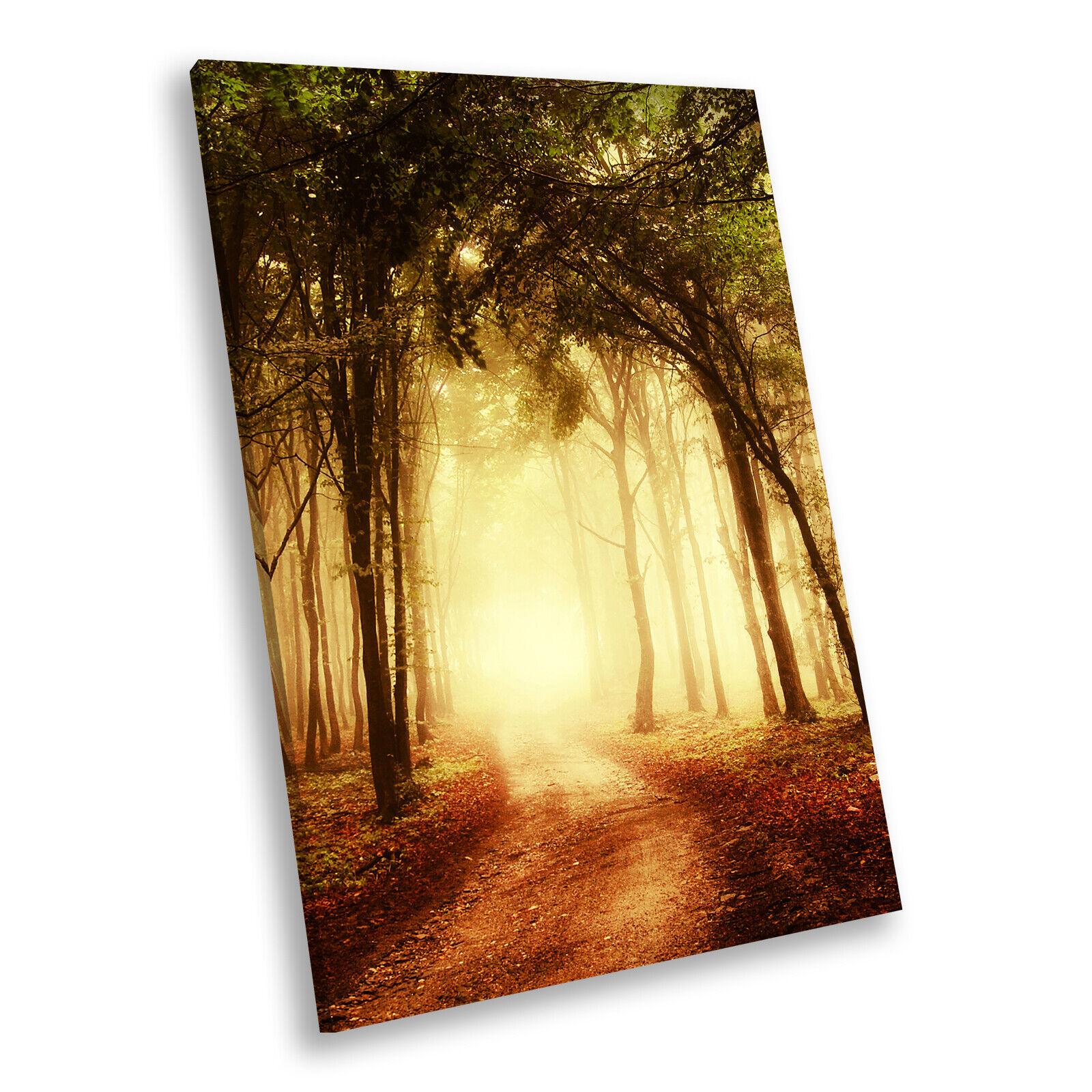 Retro Orange Forest Nature Portrait Scenic Canvas Wall Art Large Picture Prints