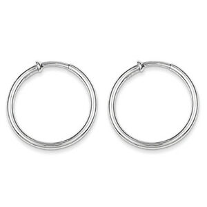 925-Sterling-Silver-Rhodium-Polished-2-5mm-x-30mm-Non-Pierced-Hoop-Earrings