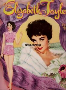 VINTAGE UNCUT 1953 ELIZABETH TAYLOR PAPER DOLLS~#1 REPRODUCTION~GORGEOUS/RARE!