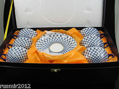 LOMONOSOV DESIGN COBALT NET 6 CUP AND SAUCER SET FINE PORCELAIN 22K GOLD