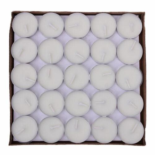 Smokeless Wax Tea Lights Home Wedding Birthday 50pcs//set Round Aroma Candle