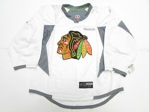 big sale 8a23a 3a4bc Details about CHICAGO BLACKHAWKS AUTHENTIC WHITE REEBOK EDGE PRACTICE  JERSEY GOALIE CUT 58