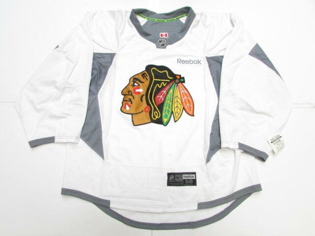 e5111fbf4 Chicago Blackhawks Authentic White Reebok Edge Practice Jersey Goalie Cut  58 for sale online
