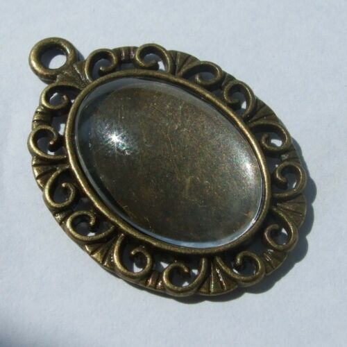 NEW OVAL SILVER GOLD BRONZE CAMEO CABOCHON PENDANT SETTING TRAY 18mm x 13mm C18