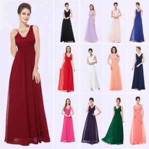 8e353e5b0c6 UK Ever Pretty Long V-Neck Formal Evening Dresses Chiffon Bridesmaid ...