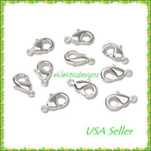20pcs-12mm-Silver-Plated-Lobster-Clasps-Ends-Jewelry-Findings-Bracelet-Necklace