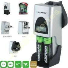 Fast 2 hour Mains Travel Charger AAA AA Rechargeable Battery LCD UK Plug