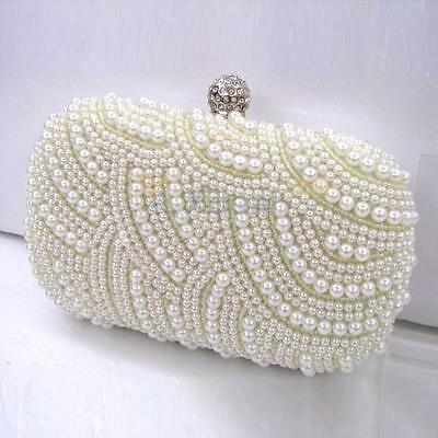 2015 Hot Handmade Beaded Pearl Evening Bag Clutch Crystal Purse Party Wedding
